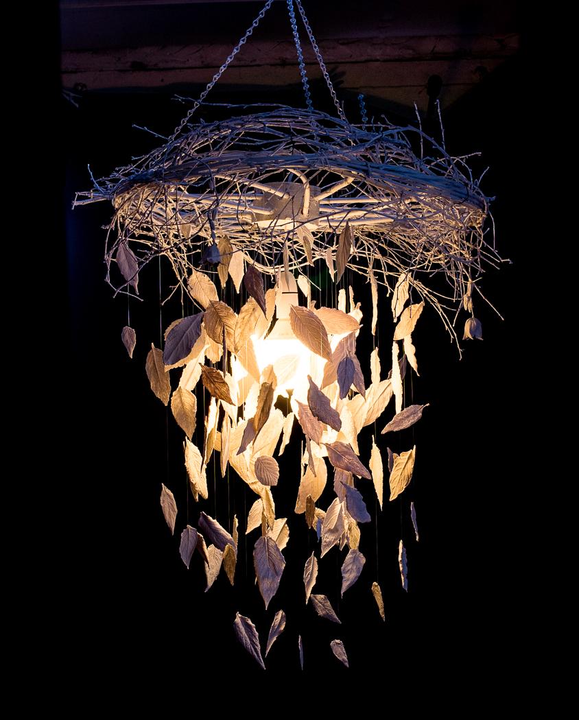 Porcelain leaves chandelier